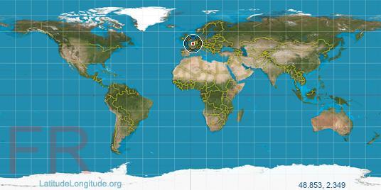 Paris latitude longitude