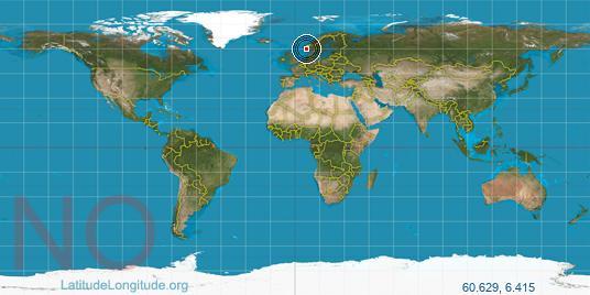 Voss Latitude Longitude - Norway map voss