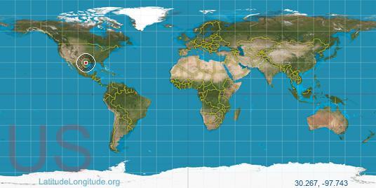 latitude position equator 3365km 2091mi austin 6642km 4127mi north pole longitude position austin 9025km 5608mi prime meridian